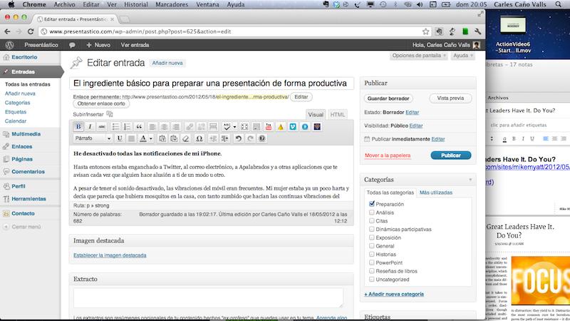 Captura de escritorio con WordPress y otros elementos
