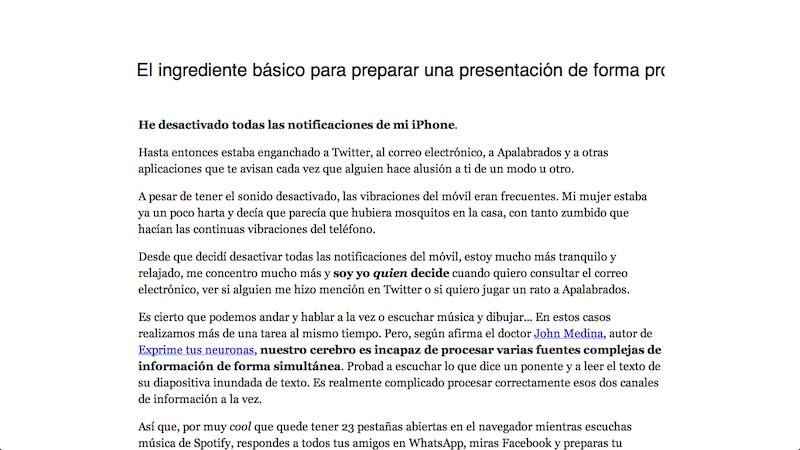 Captura de pantalla de edición de artículo en WordPress a pantalla completa