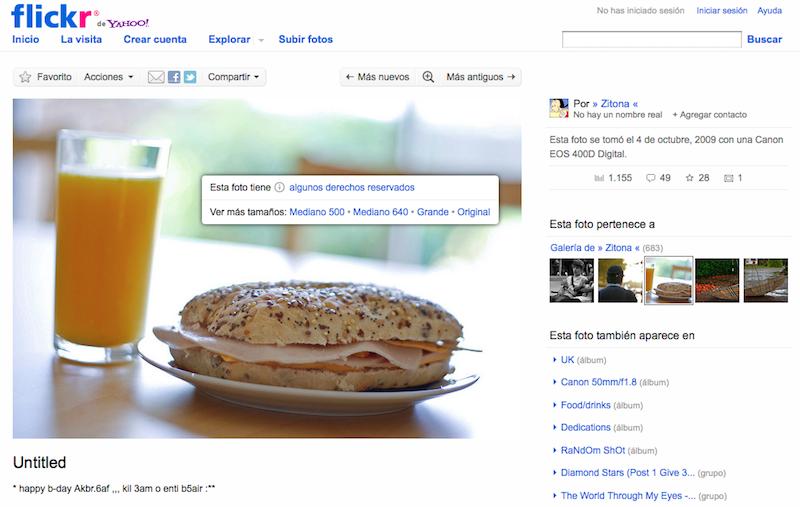 Tipo de licencia y tamaños de fotografía en foto de Flickr