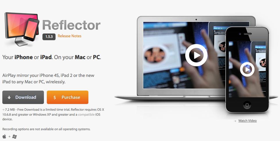 Captura de pantalla con información sobre Reflector