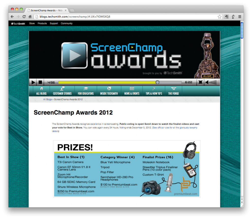 Pantalla inicial del sitio web ScreenChamp Awards 2012