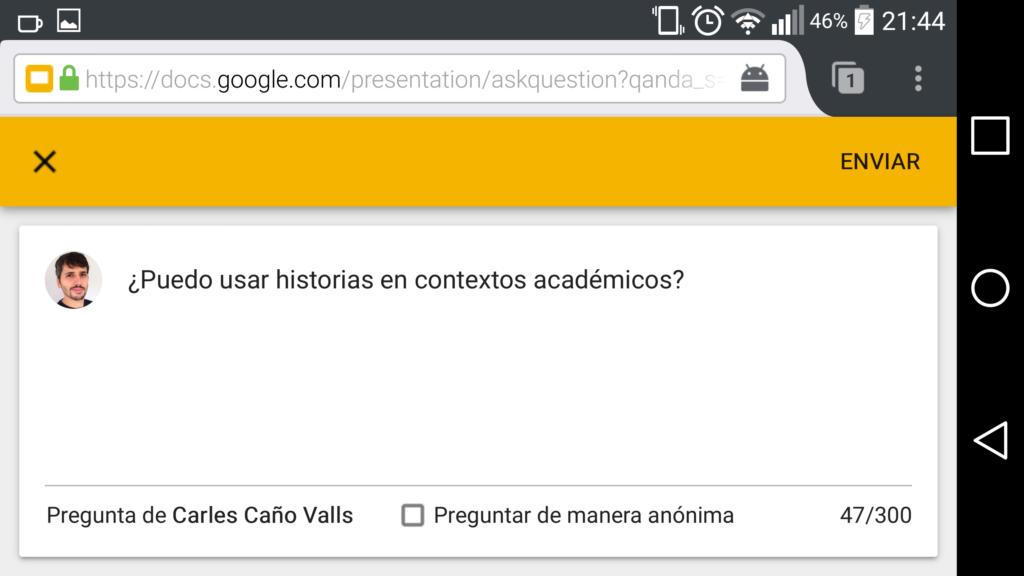 Escribir pregunta - Presentaciones Google