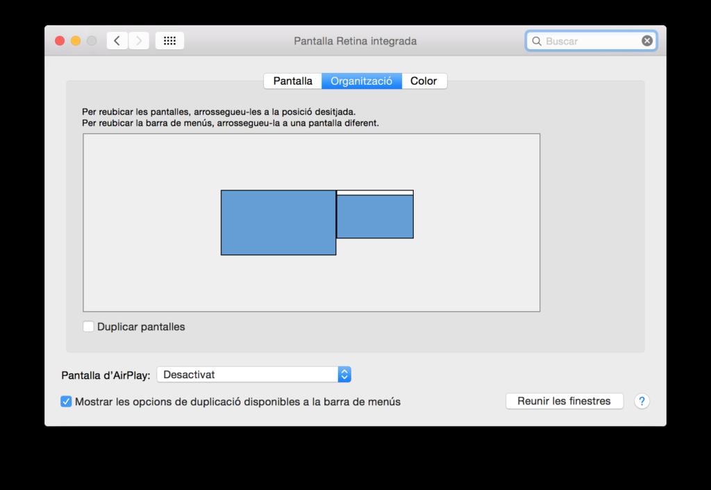 Ventana de organización de pantallas de Mac OS X