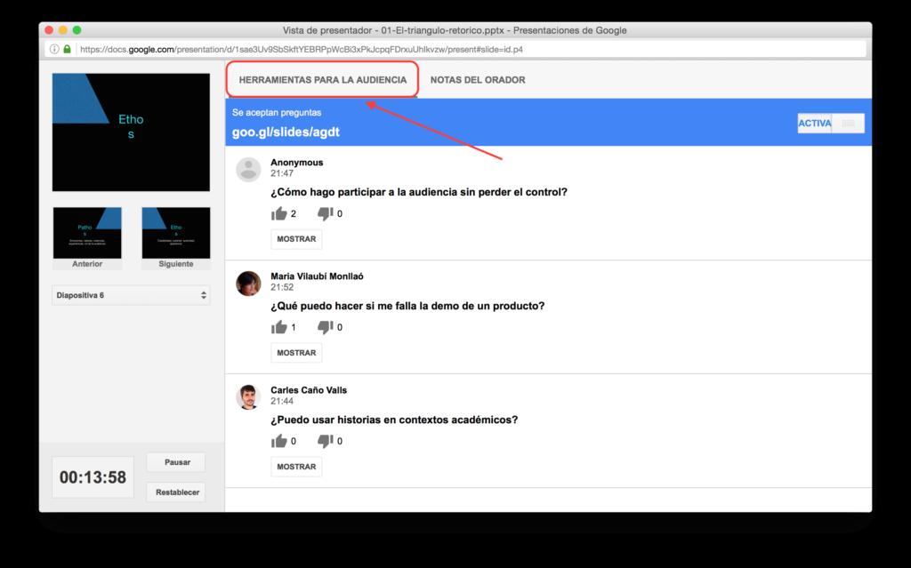 Herramientas para la audiencia - Presentaciones Google