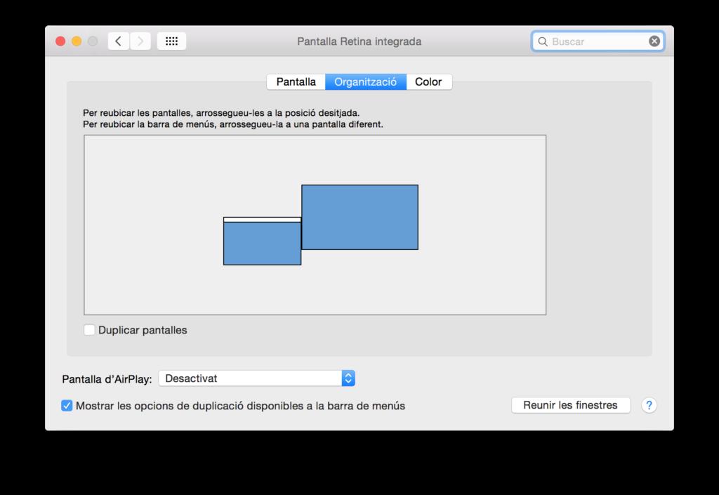 Organizar pantallas en Mac OS X