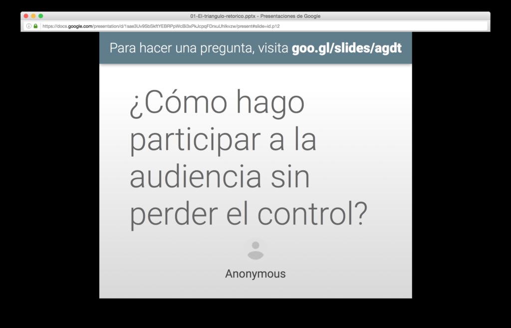 Pregunta anónima en diapositiva