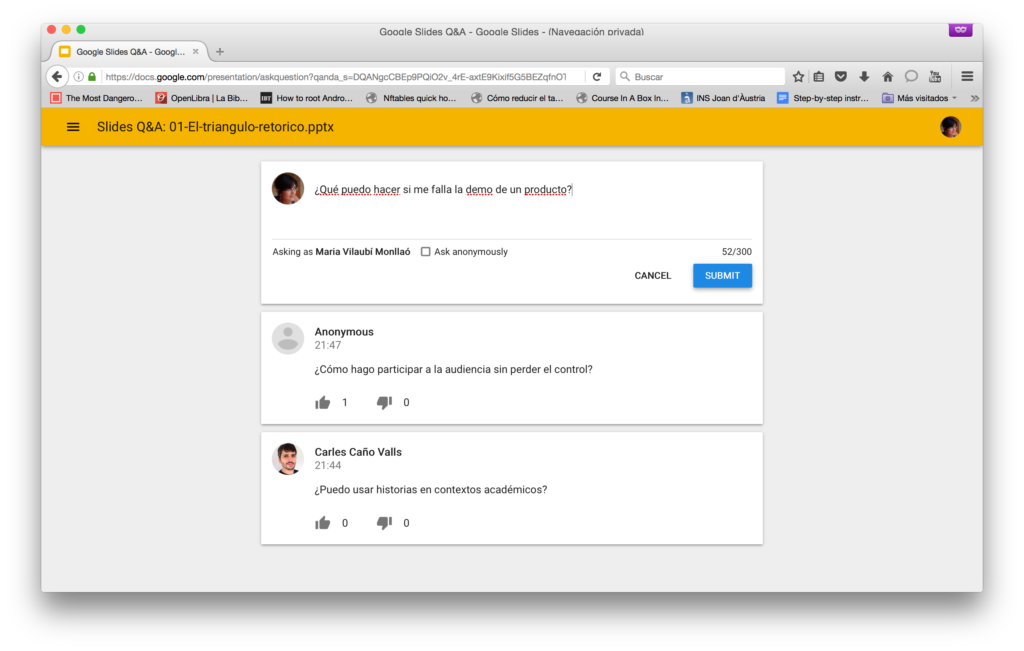 Preguntas audiencia - Presentaciones Google