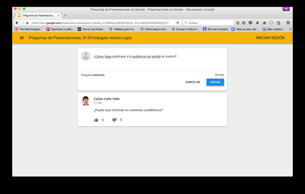 Enviar pregunta anónima con Presentaciones de Google