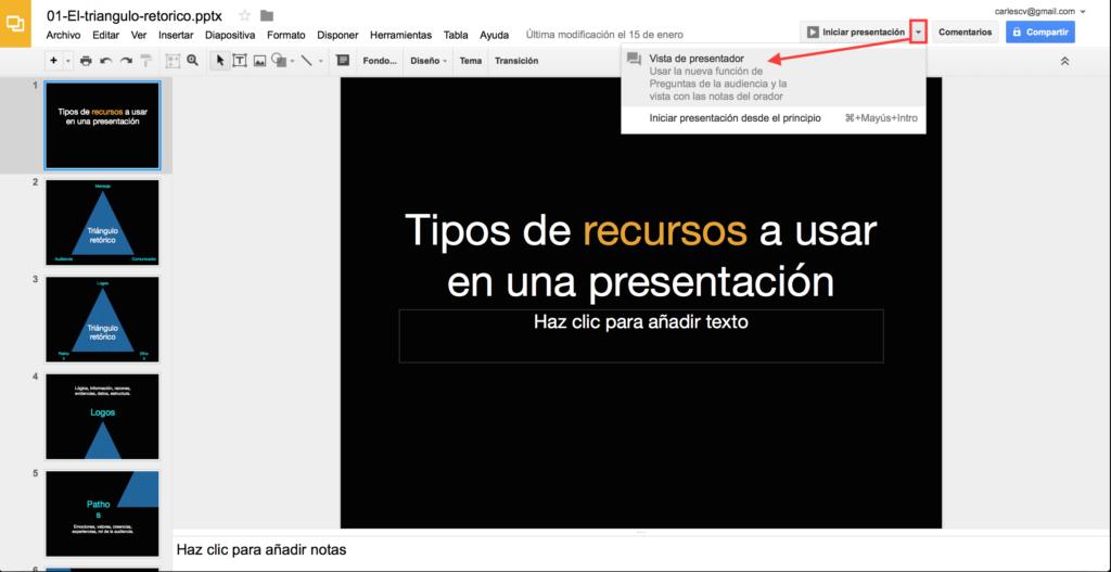 Presentaciones Google: Iniciar Vista presentador